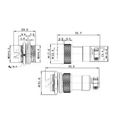 6-Pin Su Geçirmez Mike Konnektör GX-16 - Thumbnail