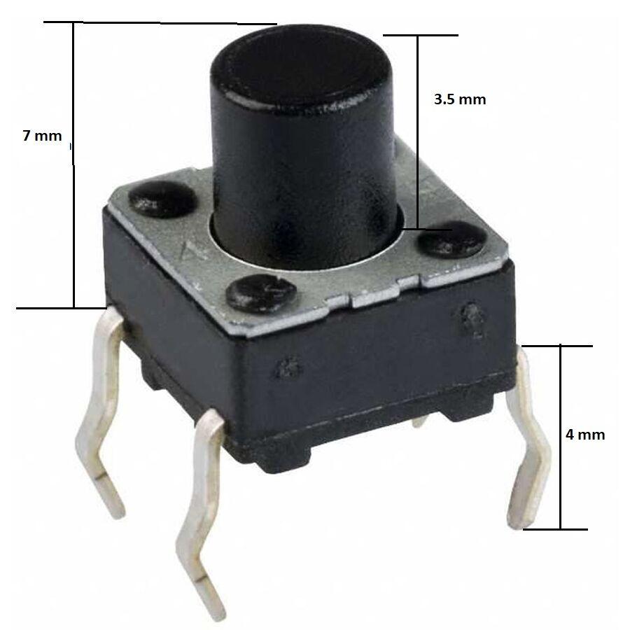 6x6 7mm Tach Buton (4 Bacak)