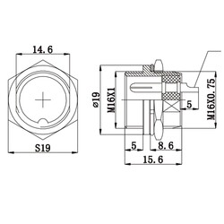 7-Pin Kablolu Erkek Mike Konnektör GX-16 - Thumbnail