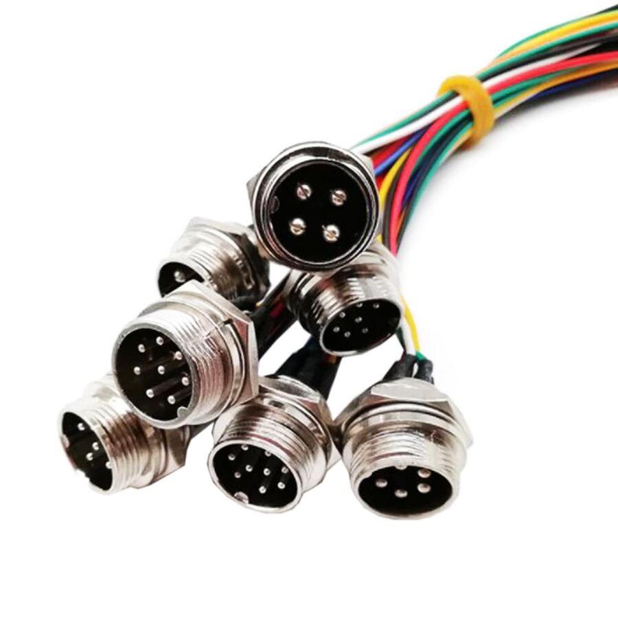 8-Pin Kablolu Erkek Mike Konnektör GX-16