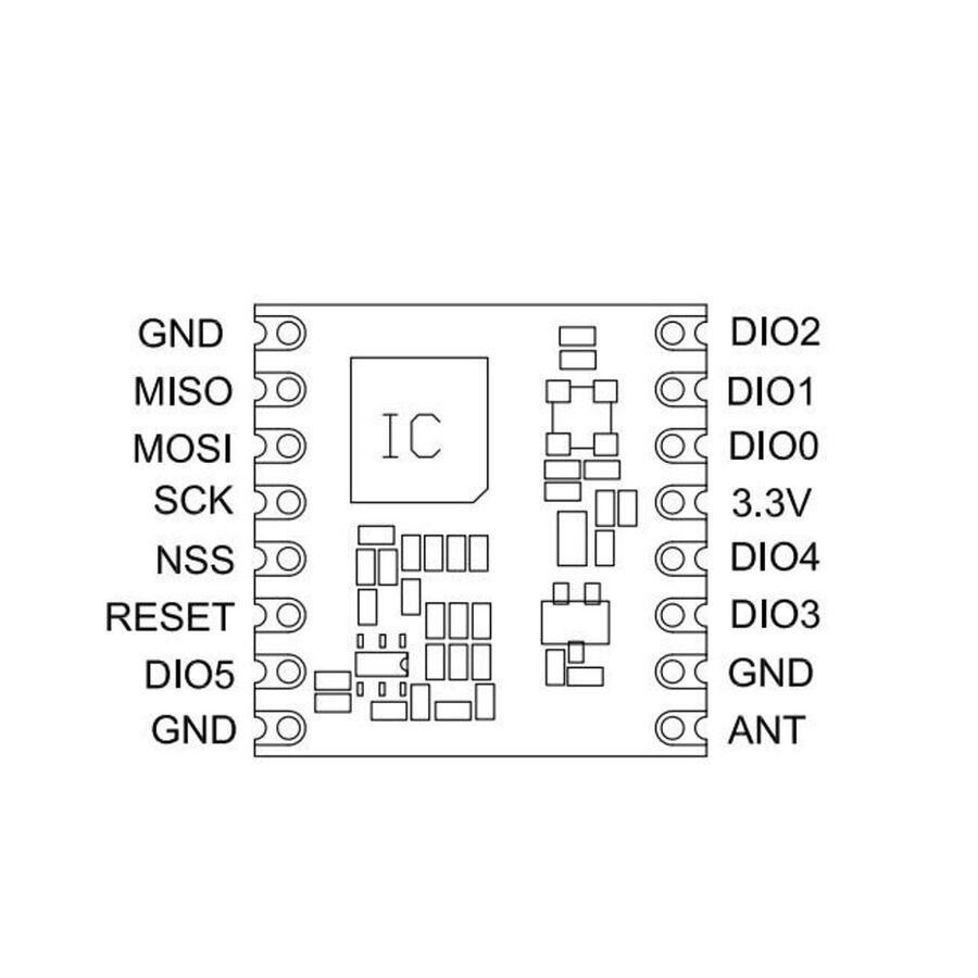 RFM95W 868MHz RF Modül Lora SMD