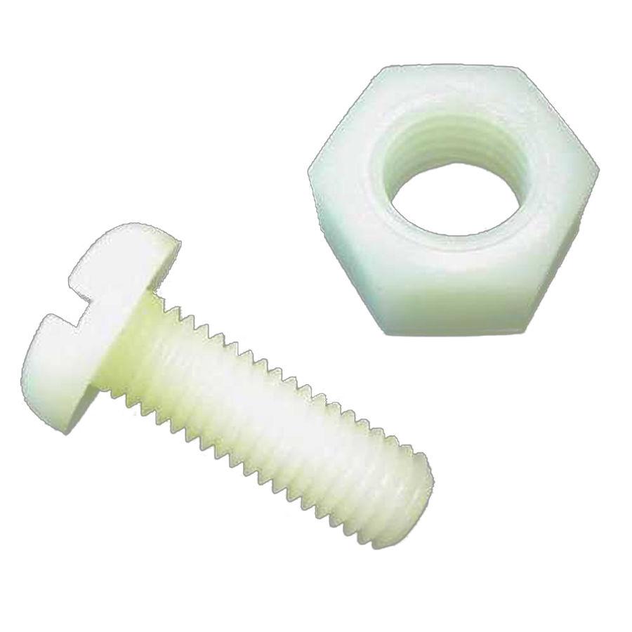 8mm Plastik Vida Somun Takımı - Beyaz