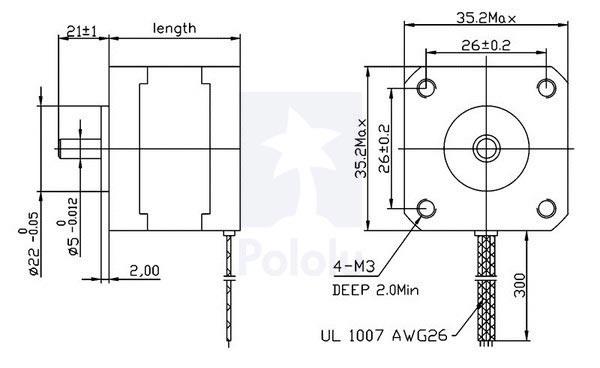 Pololu - 1207 - 200 adım step motor - nema 14