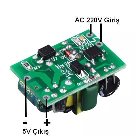 220V 5V Çevirici Bağlantı Şekli