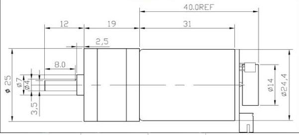 8mm DC Motor - 6V DC Motor - 100RPM DC Motor