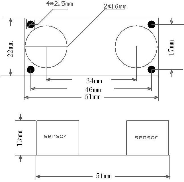 Arduino Raspberry Pi LattePanda Ultrasonic Mesafe Sensörü - Ultrasonik Sensör Boyutları