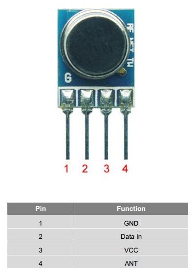 433mhz rf verici modül pin açıklaması