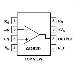 AD620AN Enstrümantasyon Yükselteci Entegresi Dip-8 - Thumbnail