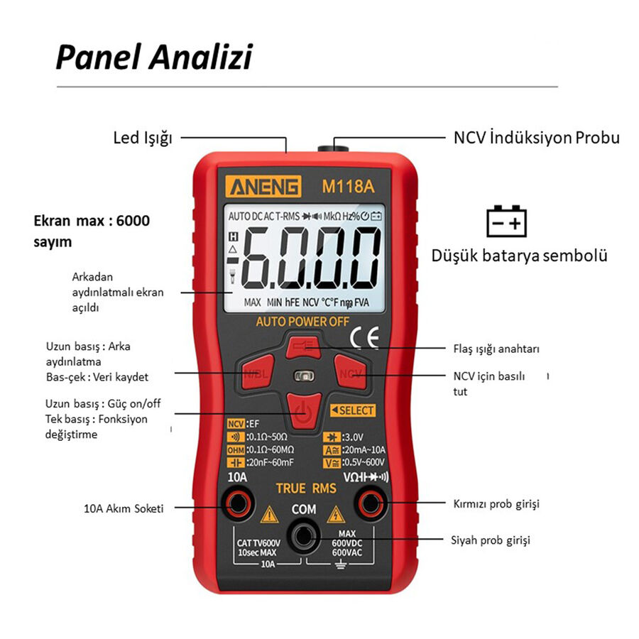 ANENG M118A Dijital Mini Multimetre