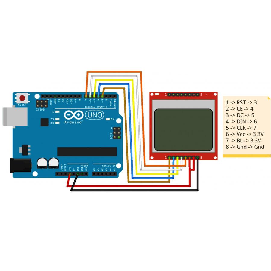 Arduino 1.6 inç Nokia 5110 Lcd Ekran