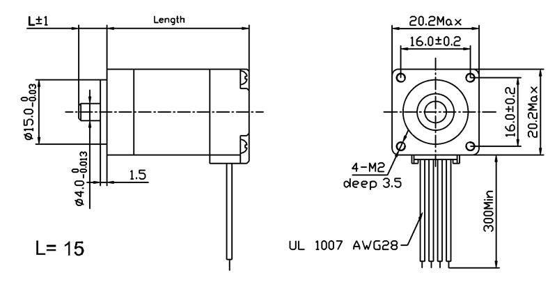 Nema 8 - 200 Adım Step Motor Bipolar - 20x30mm - 3.9V