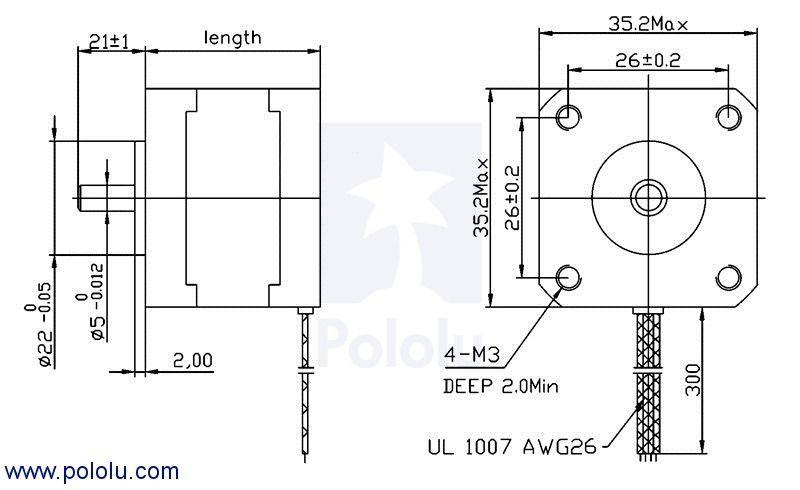 Nema 14 - 200 Adım Step Motor Bipolar - 35x36mm - 2.7V