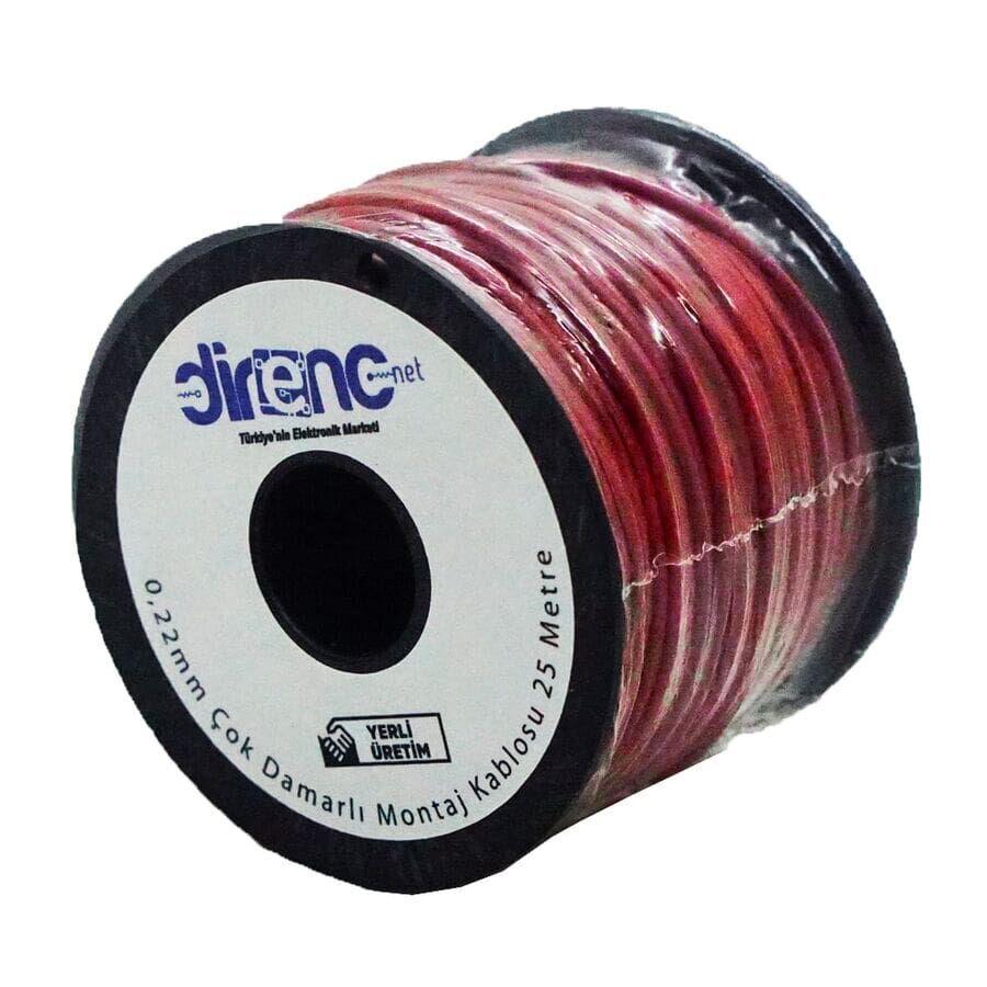 Çok Damarlı Montaj Kablosu 22AWG 25 Metre Kırmızı