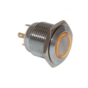Drn416 16mm Metal Beyaz Ledli Yaylı Buton