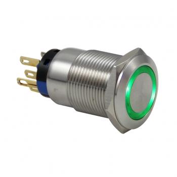 Drn419 19mm Metal Yeşil Ledli Yaylı Buton