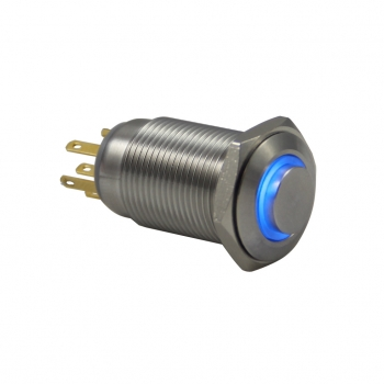Drn516 16mm Metal Beyaz Ledli Anahtarlı Buton