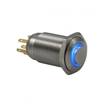 Drn516 16mm Metal Mavi Ledli Anahtarlı Buton