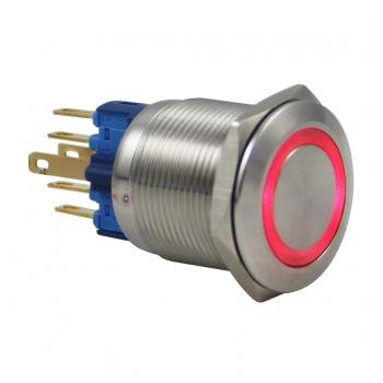 Drn522 22mm Metal Mavi Ledli Anahtarlı Buton
