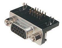 15-Pin 3 Sıra 90° Dişi D-Sub Konnektör