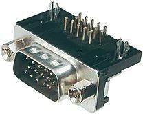 15-Pin 3 Sıra 90° Erkek D-Sub Konnektör