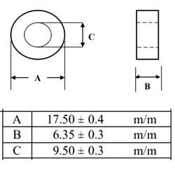 40R 100MHz Ferrit Toroid Ring Bobin 17.5X6.35mm - Thumbnail
