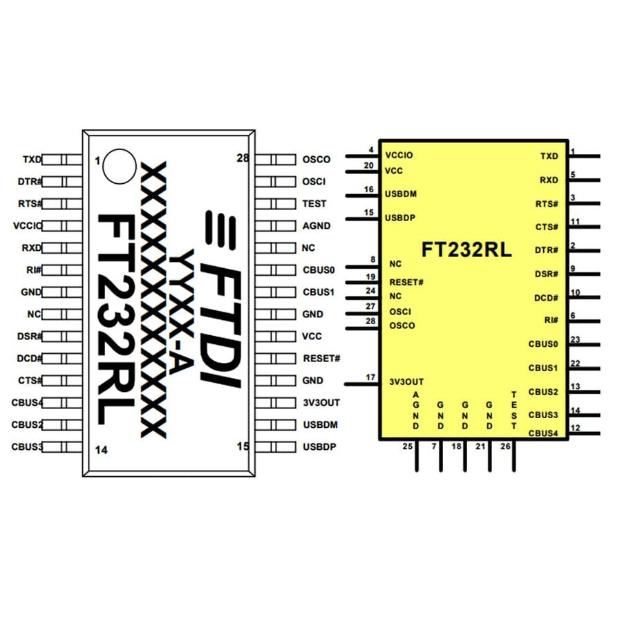 FT232RL Smd USB Arayüz Entegresi Ssop-28
