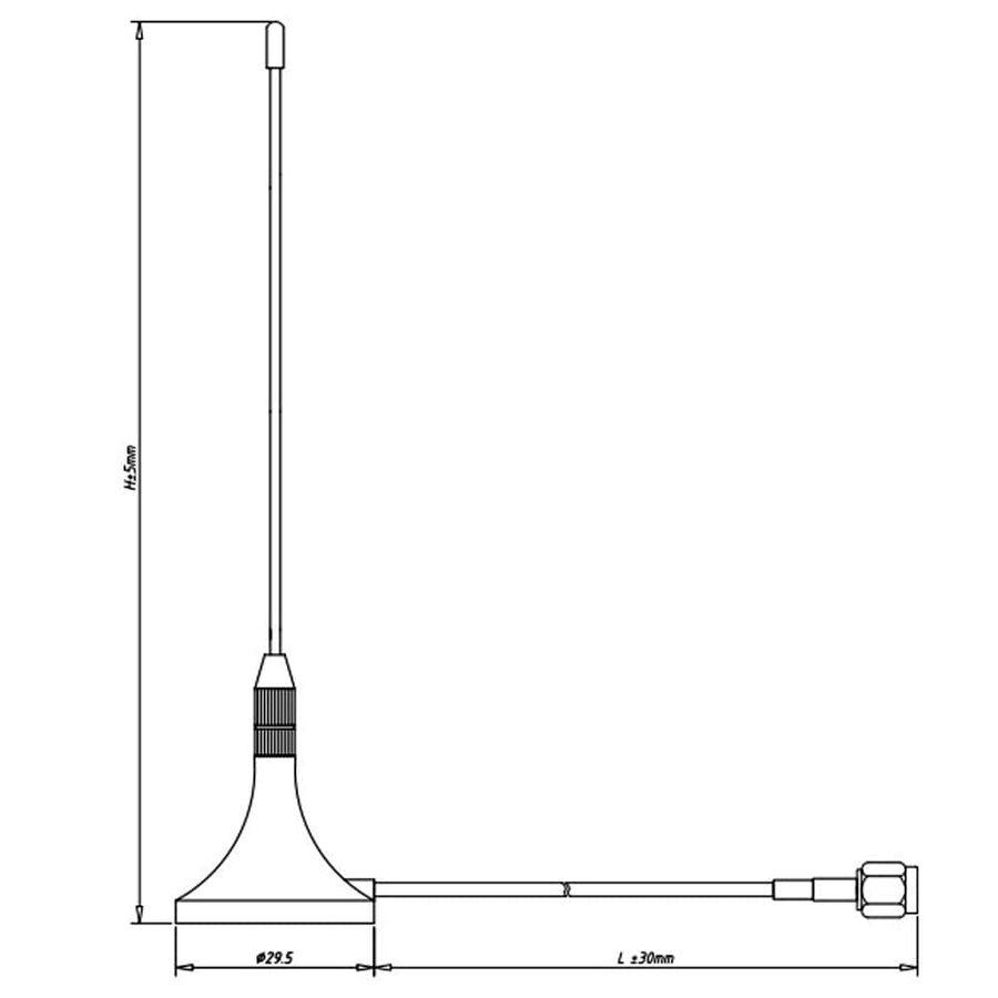 GSM Kablolu Anten SMA 2dBi 100mm