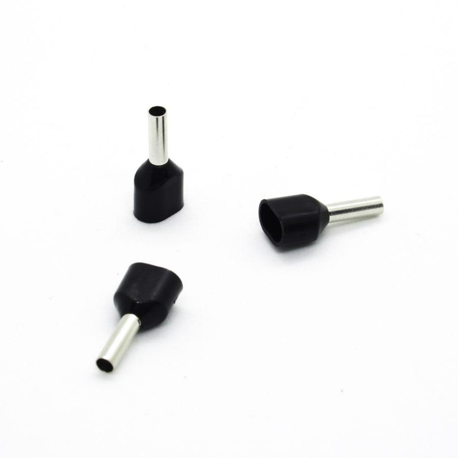 İzoleli Çift Girişli Kablo Yüksüğü 16 mm - Siyah - 50 Adet