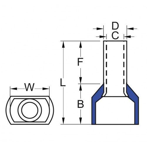 İzoleli Çift Girişli Kablo Yüksüğü 15 mm - Mavi - 50 Adet