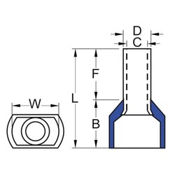 İzoleli Çift Girişli Kablo Yüksüğü 15 mm - Mavi - 50 Adet - Thumbnail