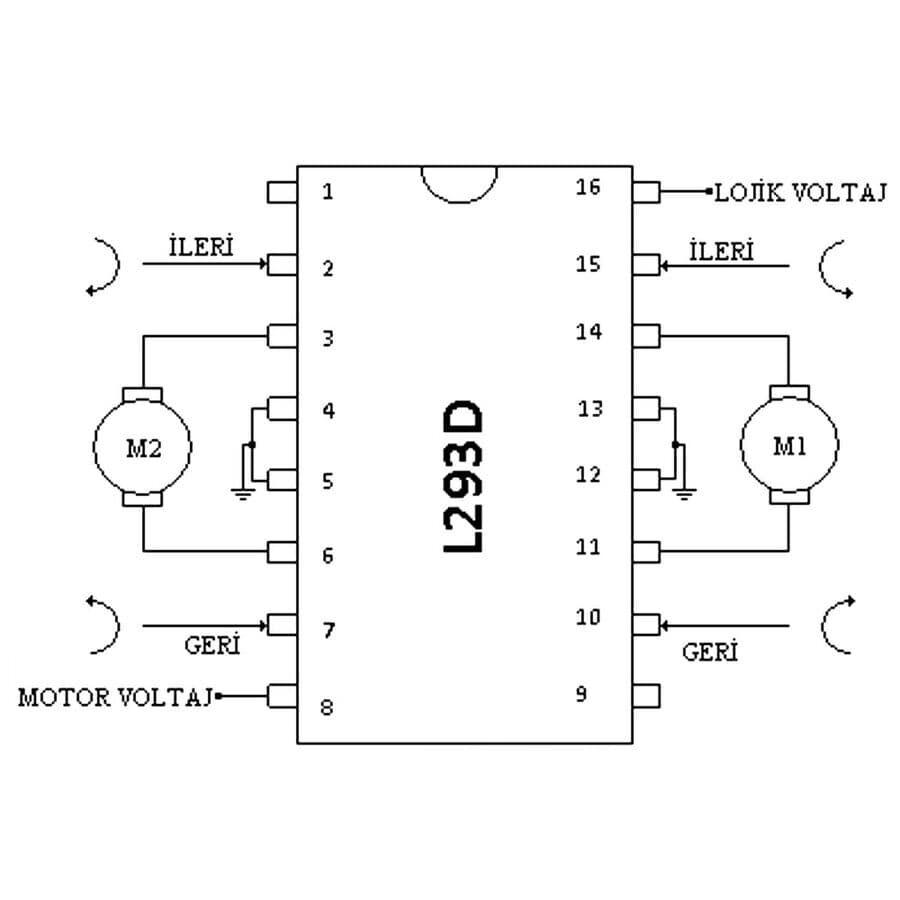 L293D Motor Sürücü Entegresi DIP-16