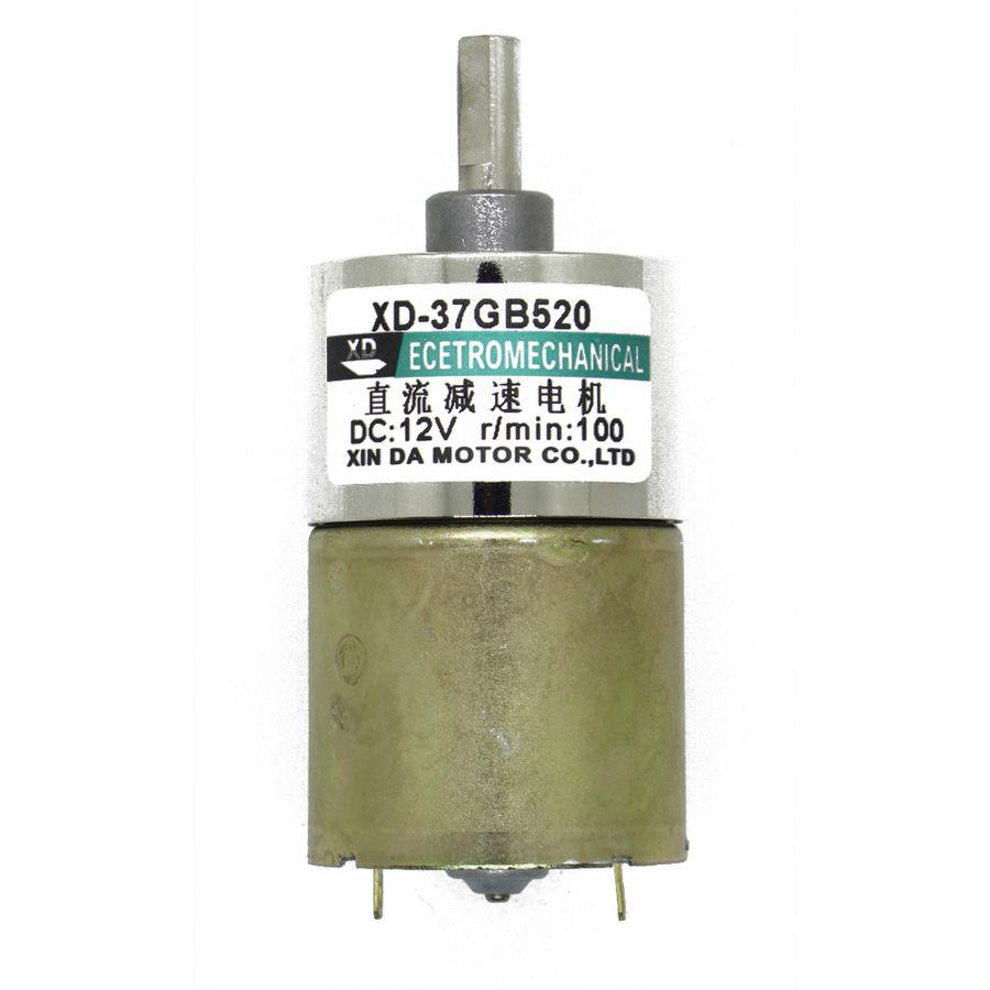12V 100RPM 37mm Redüktörlü DC Motor (42 kg.cm)