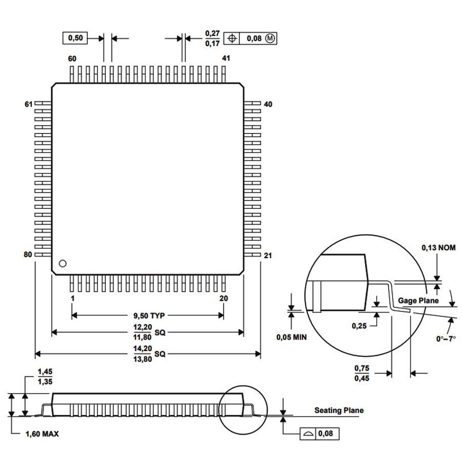 MSP430F6723IPN 16-Bit 25MHz Smd Mikrodenetleyici LQFP80