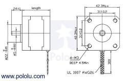 Nema 17 - 200 Adım Step Motor Bipolar - 42×38mm - 2.8V - 1.7A - Pololu - #2267 - Thumbnail
