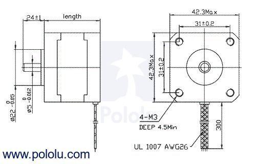 Nema 17 - 200 Adım Step Motor Bipolar - 42×38mm - 2.8V - 1.7A