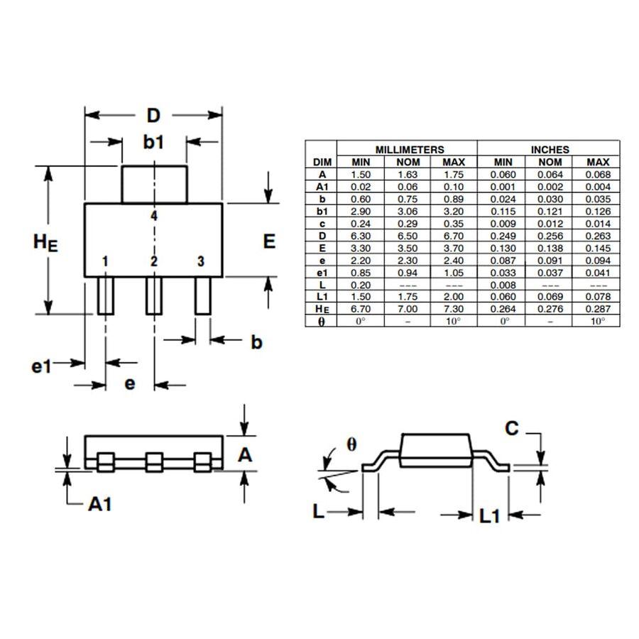 NSV60601MZ4T1G 6A 60V Npn Smd Transistör Sot-223