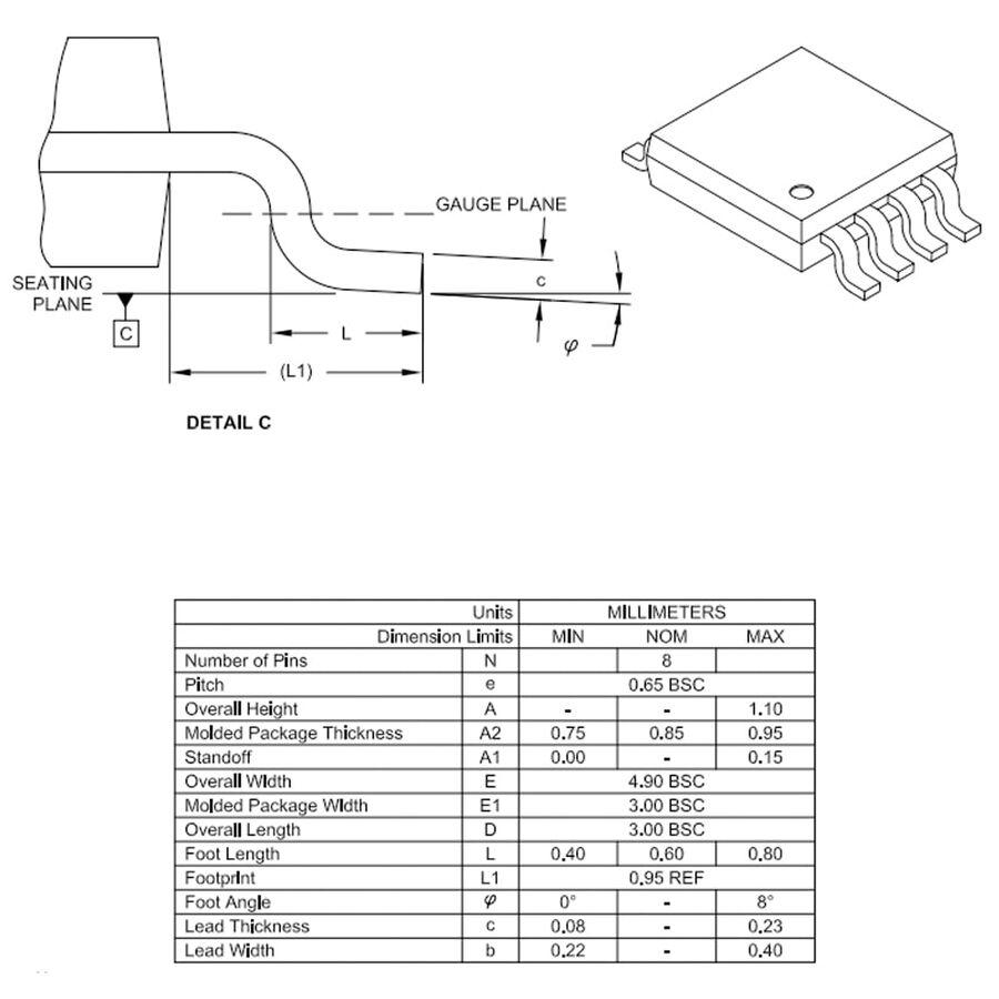 PIC12F1572-I/MS SMD MSOP8 32Mhz 8-Bit Mikrodenetleyici