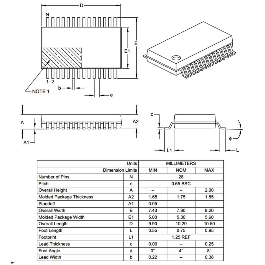 PIC16F1516-I/SS 8-Bit 20Mhz Smd Mikrodenetleyici SSOP28