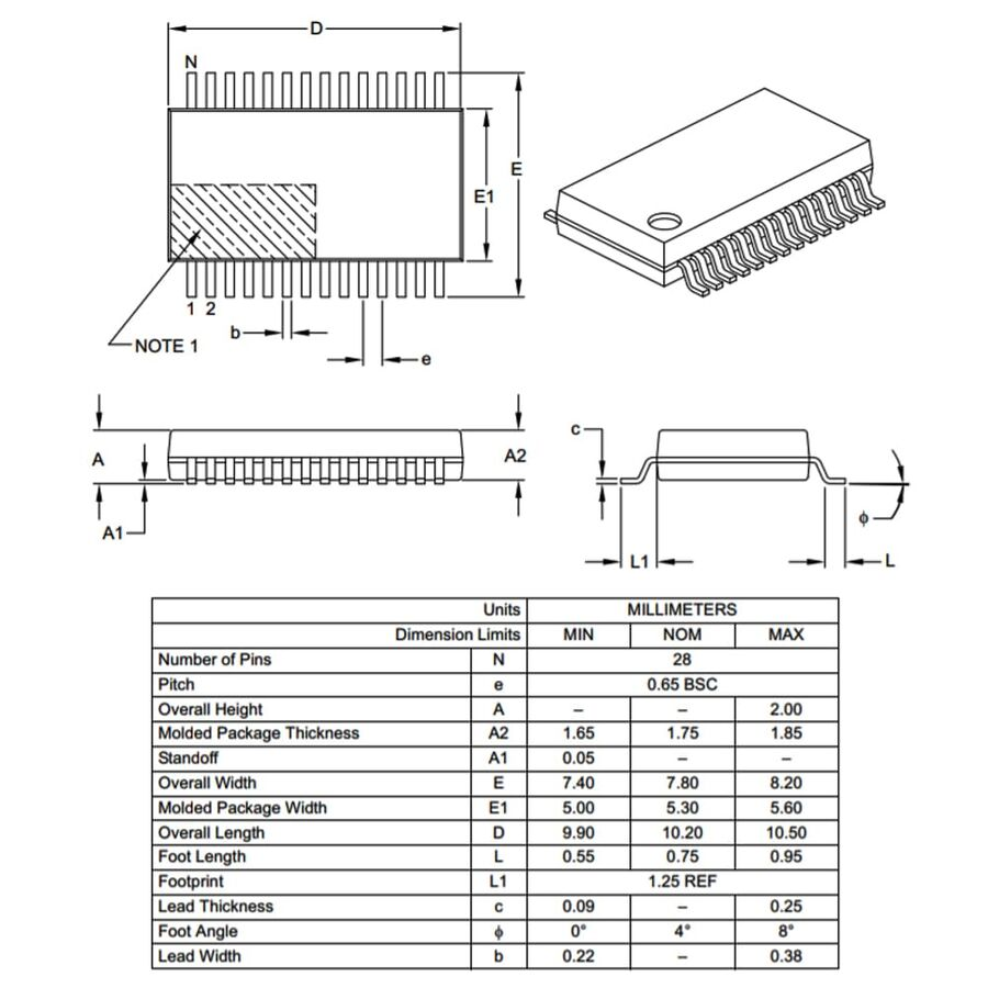 PIC16F1938-I/SS Smd 32MHz 8-Bit Mikrodenetleyici Ssop28