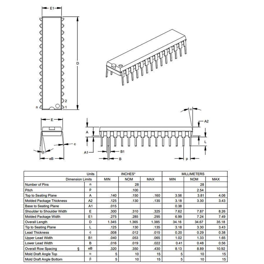 PIC16F73 I / SP DIP28 8-Bit 20 MHz Microcontroller