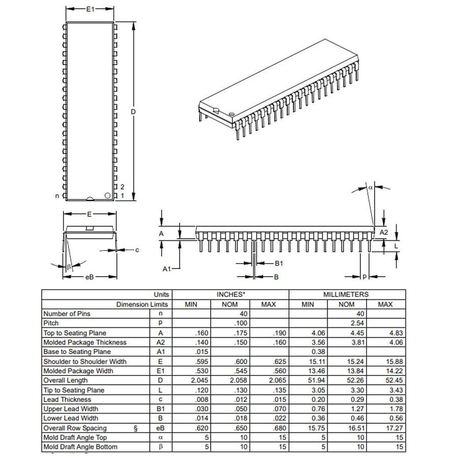 PIC16F877A-I/P DIP40 8-Bit 20MHz Mikrodenetleyici