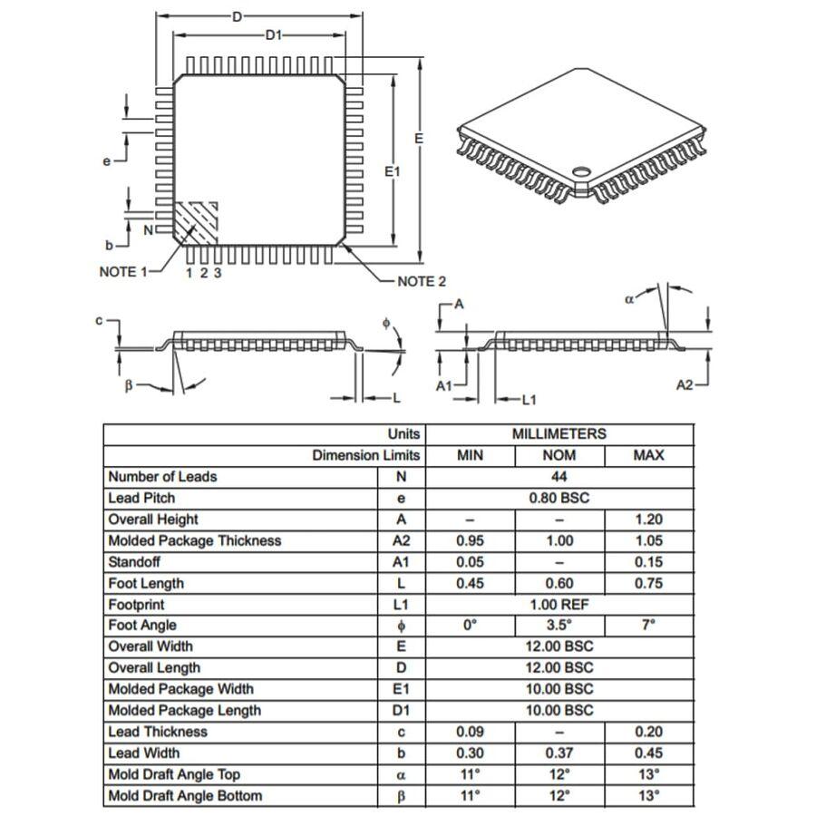 PIC18F45K80-I/PT SMD 8-Bit 64MHz Mikrodenetleyici TQFP-44