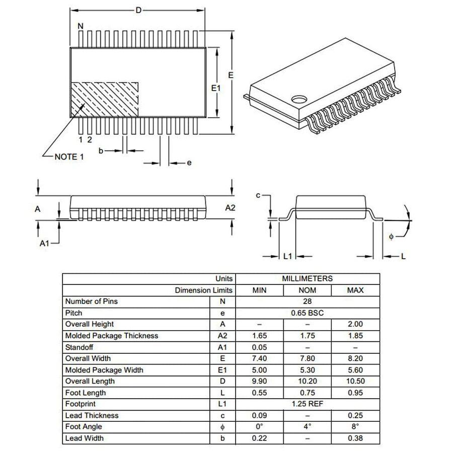 PIC18LF26K22-I/SS SMD SSOP28 64Mhz 8-Bit Mikrodenetleyici
