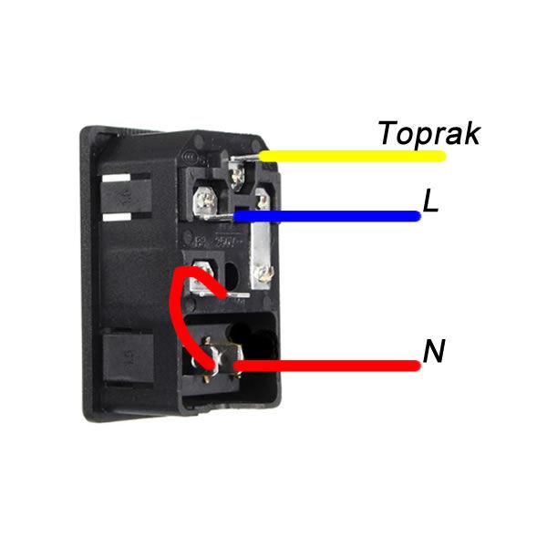 Power Giriş Sigorta Yuvalı Anahtarlı Kutu Tip