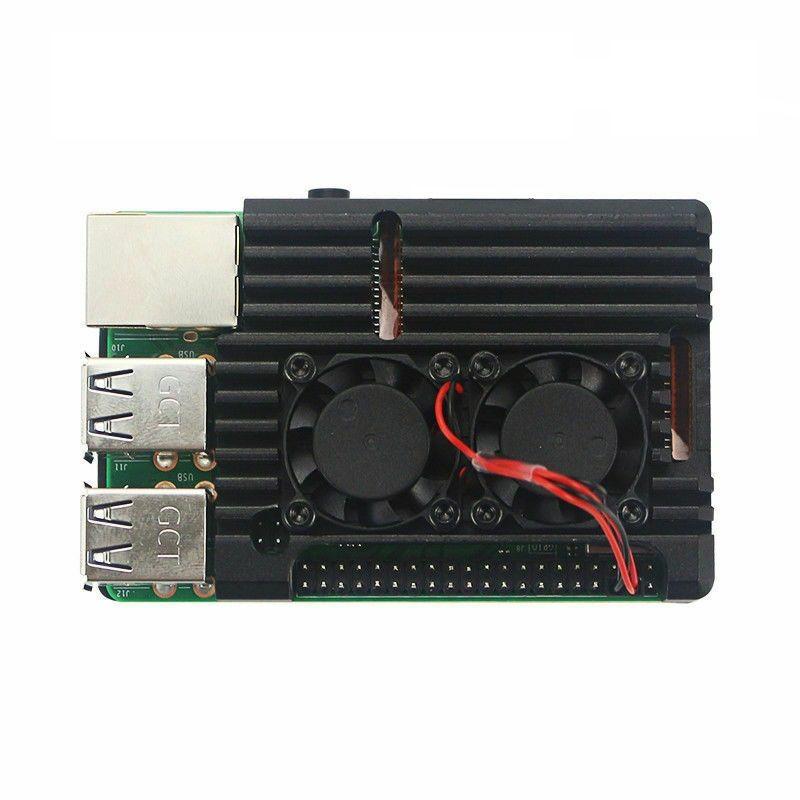 Raspberry Pi 4 Alüminyum Kasa Soğutucu - Çift Fanlı