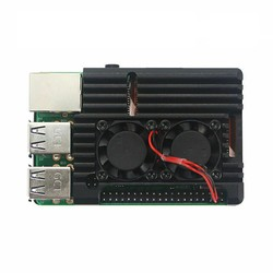 Raspberry Pi 4 Alüminyum Kasa Soğutucu - Çift Fanlı - Thumbnail
