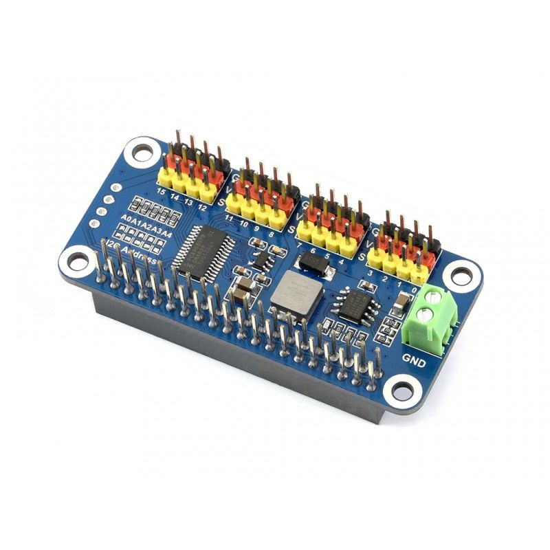 Raspberry Pi Servo Motor Sürücü Kartı - 16 Kanal - 12 Bit - WaveShare