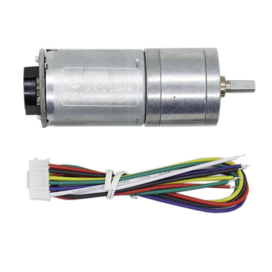 6V 100RPM Enkoderli Metal Redüktörlü DC Motor