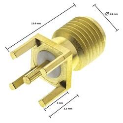 Sma 180C Dişi Konnektör Geniş Ayak (SA0N1T0G) - Thumbnail