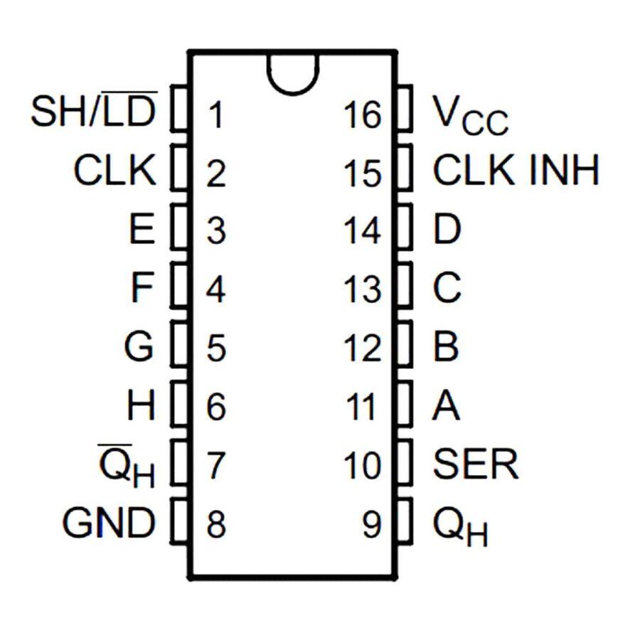 SN74HC165N Shift Register Entegresi DIP16